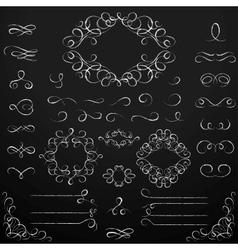 Chalkboard set of calligraphic design elements vector