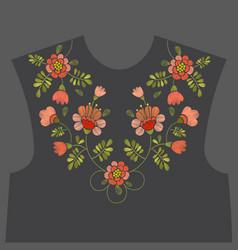 embroidery floral neckline design vector image