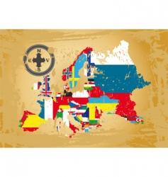 European flag map vector image vector image