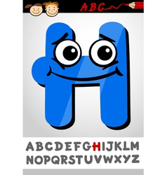 funny letter h cartoon vector image