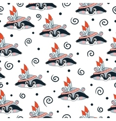 raccoon doodle seamless pattern background vector image vector image