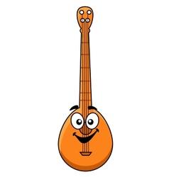 Fun cartoon banjo with a happy smiling face vector image