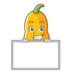 Grinning with board butternut squash character vector