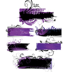 Set of grunge banners with patterns vector image vector image
