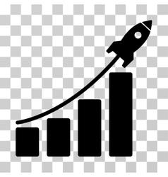 Startup Rocket Bar Chart Icon vector image