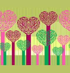 Abstract heart trees vector