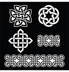 Celtic irish white patterns and knots vector
