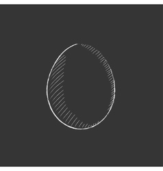 Egg Drawn in chalk icon vector image vector image