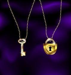 Jewel lock and key vector