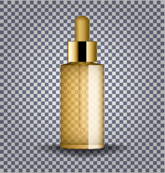 realistic gold cosmetic glass bottle with dropper vector image vector image