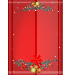 Red Background of Christmas Balls on Fir Twigs vector image vector image