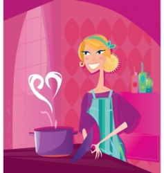 Valentine's cooking illustration vector image vector image
