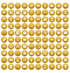 100 railway icons set gold vector