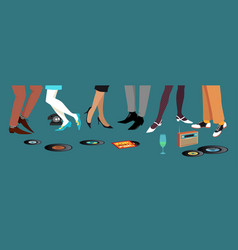 60th dancing feet vector image