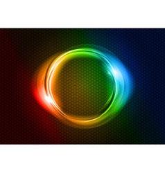abstract round on black rainbow vector image