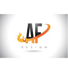 Af a f letter logo with fire flames design vector