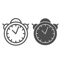 Alarm clock line and glyph icon table watch vector