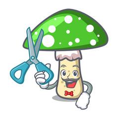 barber green amanita mushroom character cartoon vector image