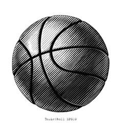 basketball hand draw vinatge style black and vector image