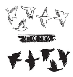 birds flying in sky black icons vector image