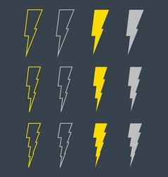 black icons of thunder lighting vector image