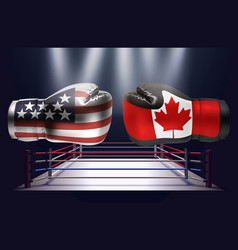 boxing gloves with prints of the usa and canadian vector image