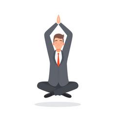 businessman meditates after hard work character vector image