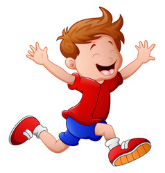 cartoon little boy running vector image