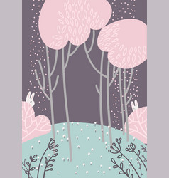 childish abstract forest landscape with pink vector image