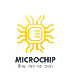 chipset microchip icon on white vector image