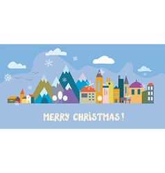 Christmas greeting card with town and snow vector image