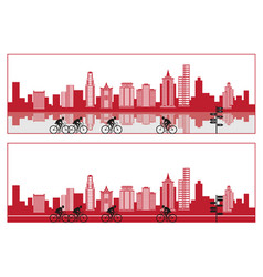 city silhouette with bike and reflection vector image