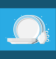 Clean teacups and ceramic plate stacked vector