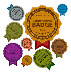 Colored awards badges vector