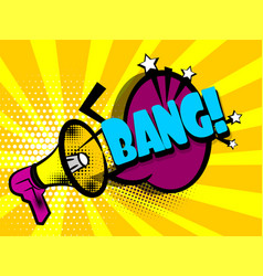Comic book text advertising megaphone bang vector