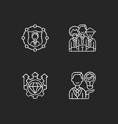 Corporate values chalk white icons set on black vector