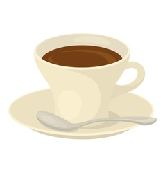 Cup of coffee saucer and spoon vector