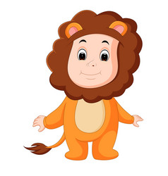 Cute baby wearing a lion suit vector
