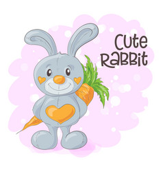 cute cartoon bunny with a carrot vector image