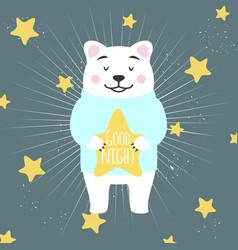 Cute cartoon white bear holding star and wishing vector