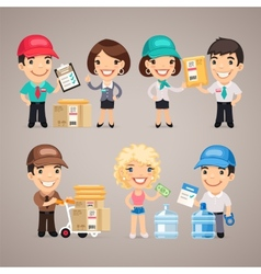 Delivery Service Characters Set vector image