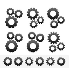 different cogwheel compositions with parts vector image