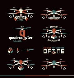 Drone or quadrocopter set vector