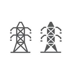 Electric tower line and glyph icon ecology vector