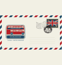 envelope with london doubledecker and flag of uk vector image