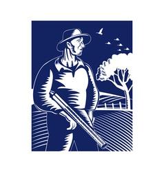 farmer hunter with shotgun rifle vector image vector image