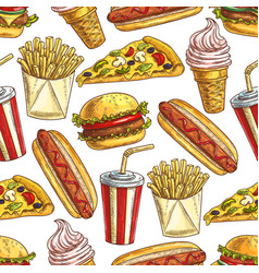 Fast food meal snacks and dessert seamless pattern vector