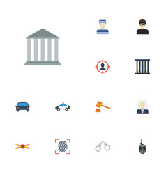 Flat icons manacles building walkie-talkie and vector