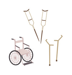 flat mobility ads set -wheelchair crutches vector image