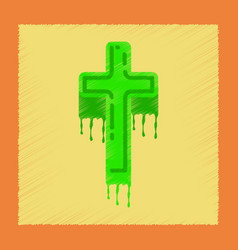 Flat shading style icon cross the blood vector